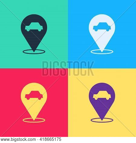 Pop Art Location With Car Service Icon Isolated On Color Background. Auto Mechanic Service. Repair S