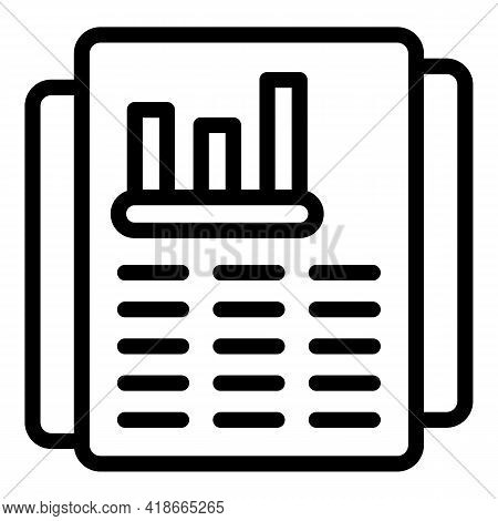 Papers Market Studies Icon. Outline Papers Market Studies Vector Icon For Web Design Isolated On Whi