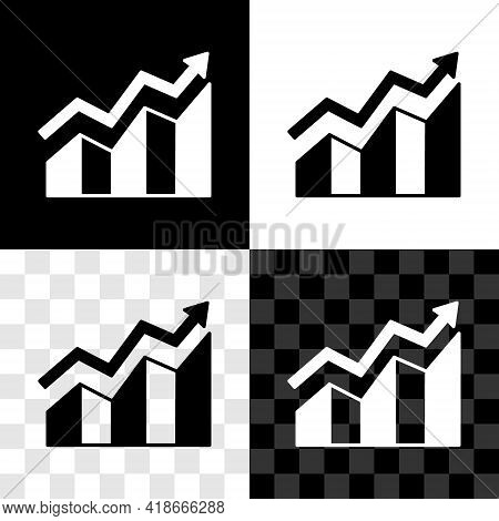 Set Financial Growth Increase Icon Isolated On Black And White, Transparent Background. Increasing R