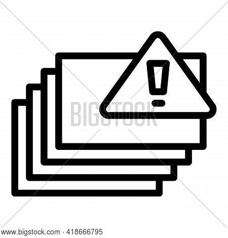 Warning Printing Sheets Icon. Outline Warning Printing Sheets Vector Icon For Web Design Isolated On