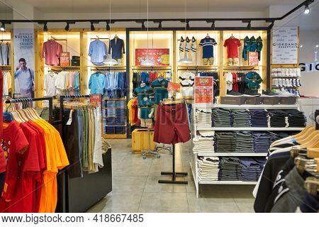 KUALA LUMPUR, MALAYSIA - CIRCA JANUARY, 2020: interior shot of Giordano store at Suria KLCC shopping mall in Kuala Lumpur.
