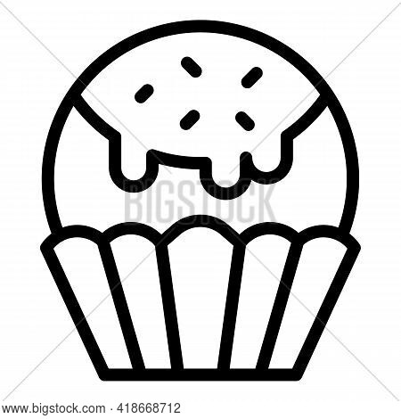 Icing Muffin Icon. Outline Icing Muffin Vector Icon For Web Design Isolated On White Background