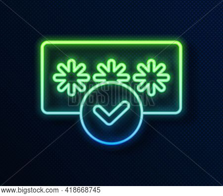 Glowing Neon Line Password Protection And Safety Access Icon Isolated On Blue Background. Security,