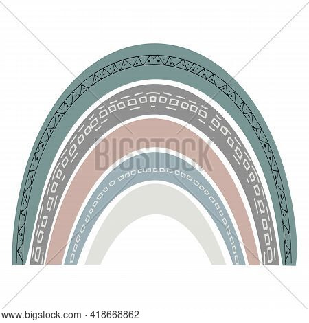 Scandinavian Cute Rainbow Isolated On A White Background. Boho Style Rainbow. Childish Drawing For N