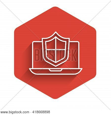 White Line Laptop Protected With Shield Icon Isolated With Long Shadow. Pc Security, Firewall Techno