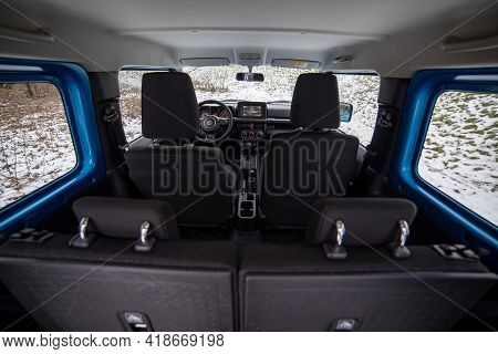 Moscow, Russia - January 24, 2020: Interior Of Suzuki Jimny Mini Suv. A Close-up View From The Trunk