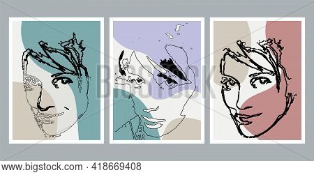 Modern Art Face. Set Of Abstract Minimal Shapes And Lines. Home Decor Design. Sketch Face Art. Hand