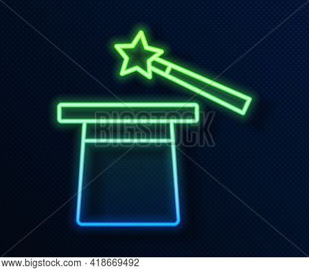 Glowing Neon Line Magic Hat And Wand Icon Isolated On Blue Background. Magic Trick. Mystery Entertai