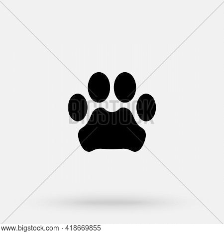 Vector Illustration. Leopard Paw Prints Logo. Black On White Background. Animal Paw Print With Claws