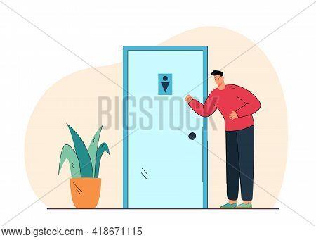 Cartoon Young Man Standing Near Toilet Door. Flat Vector Illustration. Person In Need Of Peeing, Hav