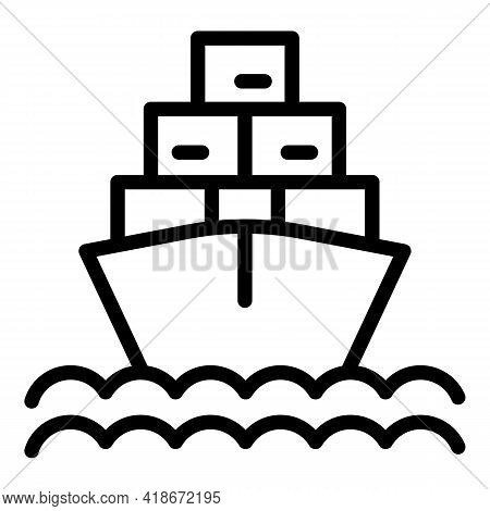 Shipping Boat Icon. Outline Shipping Boat Vector Icon For Web Design Isolated On White Background