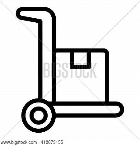 Trolley Parcel Icon. Outline Trolley Parcel Vector Icon For Web Design Isolated On White Background