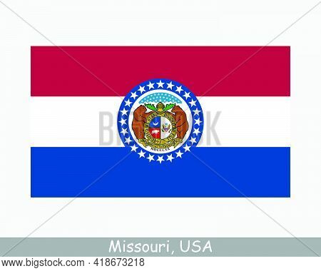 Missouri Usa State Flag. Flag Of Mo, Usa Isolated On White Background. United States, America, Ameri
