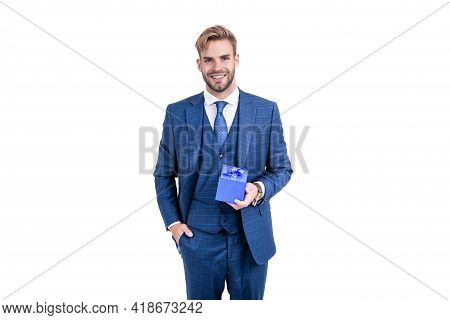 Present For Womens Day. Successful Ceo Holding Giftbox. Handsome Man