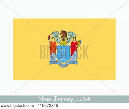 New Jersey Usa State Flag. Flag Of Nj, Usa Isolated On White Background. United States, America, Ame