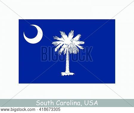 South Carolina Usa State Flag. Flag Of Sc, Usa Isolated On White Background. United States, America,
