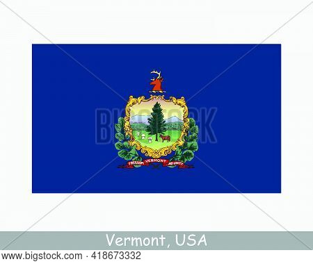Vermont Usa State Flag. Flag Of Vt, Usa Isolated On White Background. United States, America, Americ
