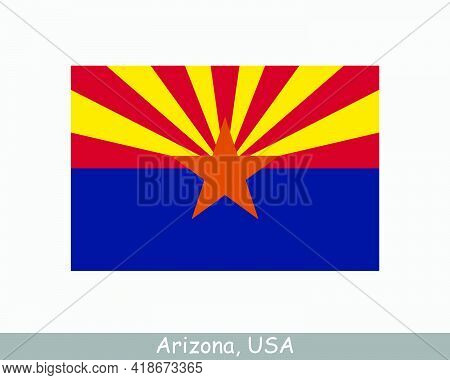Arizona Usa State Flag. Flag Of Az, Usa Isolated On White Background. United States, America, Americ