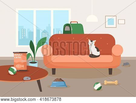 Cute Cat Character Sitting On Sofa In Living Room Illustration. Calm Cartoon Domestic Animal, Toys O