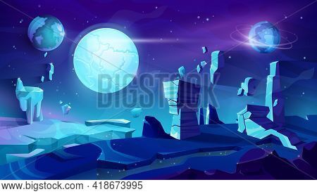 Alien Planet Landscape, Space Night Vector Background With Flying Rocks, Planets In Starry Sky. Extr