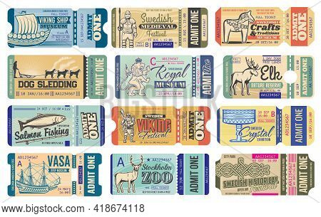Sweden History Museum Vector Tickets. Viking Medieval Festival, Dog Sledding, Fishing And Stockholm