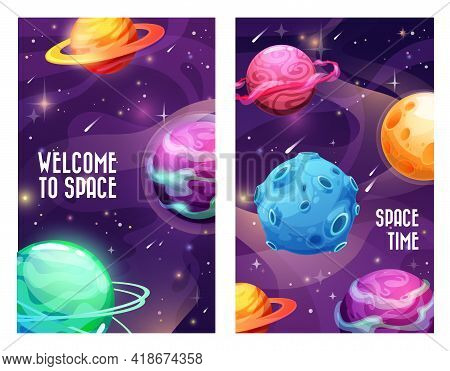 Space Planets And Galaxy Universe, Vector Cosmos Sky Background. Welcome To Space Posters With Plane