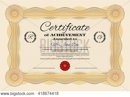 Achievements Certificate Or Diploma Vector Template, Award For Professional Or Business Achievements