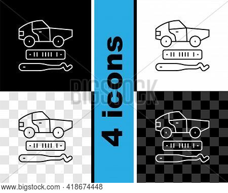 Set Line Car Theft Icon Isolated On Black And White, Transparent Background. Vector