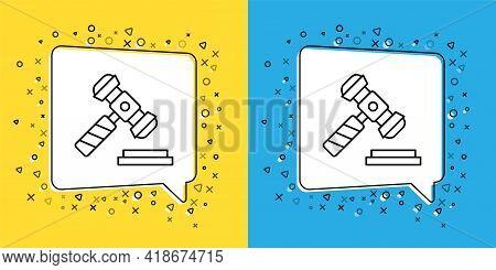 Set Line Judge Gavel Icon Isolated On Yellow And Blue Background. Gavel For Adjudication Of Sentence