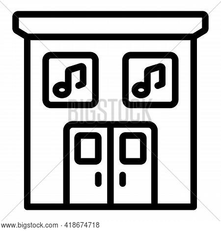 Night Club Entry Icon. Outline Night Club Entry Vector Icon For Web Design Isolated On White Backgro