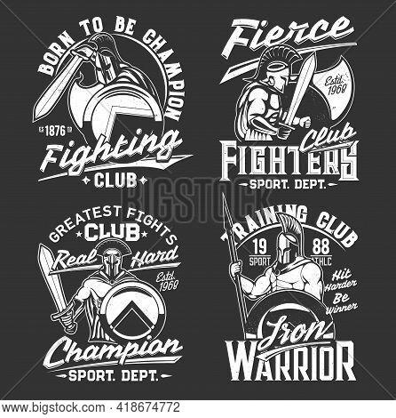 Gladiator Knight Warrior With Sword And Shield, T-shirt Print Sport Team Emblem, Vector Mockup. Hera