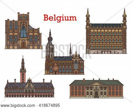 Belgium Landmarks And Architecture Buildings, Churches And Cathedrals, Vector. St Peter Church Or Si