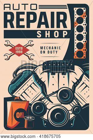 Car Repair Shop Retro Poster, Auto Maintenance Service Garage Station, Spare Parts Store Vector Bann