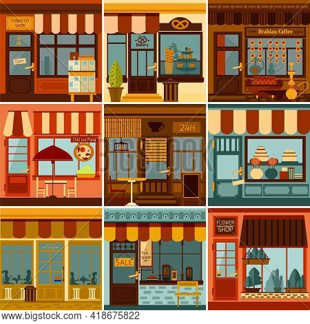 Restaurants Shops Caffees And Market Stores Facades Set Isolated Vector Illustration