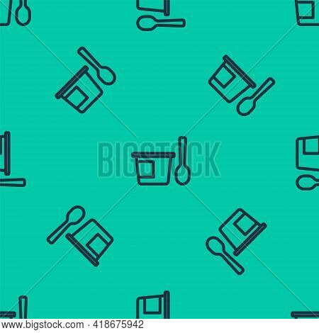 Blue Line Yogurt Container With Spoon Icon Isolated Seamless Pattern On Green Background. Yogurt In