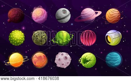 Alien Planets, Galaxy Fantasy Worlds Cartoon Icons. Artificial Planet, Satellite With Hot And Rocky