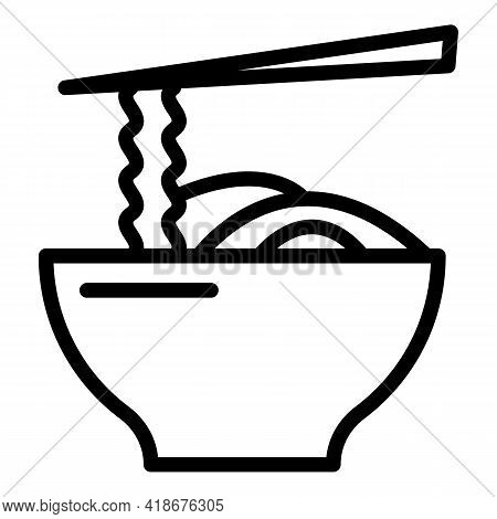 Korean Noodle Bowl Icon. Outline Korean Noodle Bowl Vector Icon For Web Design Isolated On White Bac