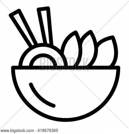 Asian Food Bowl Icon. Outline Asian Food Bowl Vector Icon For Web Design Isolated On White Backgroun