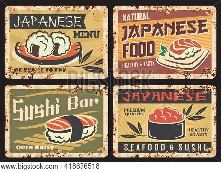 Japanese Cuisine Seafood Rusty Metal Plate. Sushi Bar, Restaurant Menu Vector Tin Sign. Japanese Sea