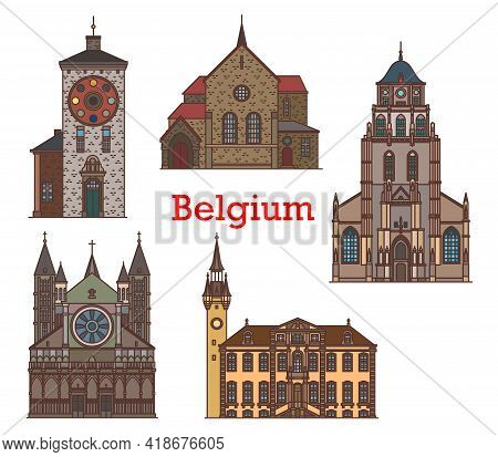 Belgium Landmarks And Travel Architecture Buildings, Vector Ancient Monuments And Sightseeing. Belgi