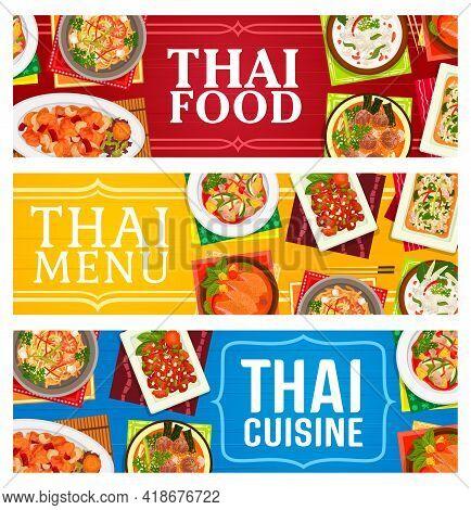 Thai Cuisine Restaurant Food Banners. Basil Chicken Pad Kparow Gai, Coconut Chicken Soup Tom Kha Gai