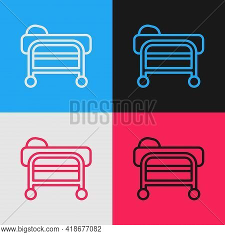 Pop Art Line Stretcher Icon Isolated On Color Background. Patient Hospital Medical Stretcher. Vector