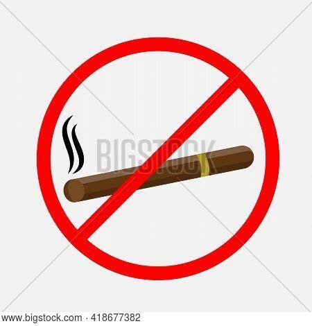 No Smoking Sign. No Smoke Icon. Stop Smoking Symbol. Vector Illustration. Filter-tipped Cigarette. I