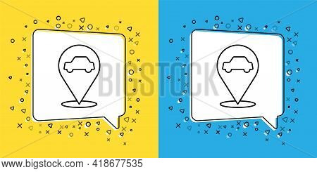 Set Line Location With Car Service Icon Isolated On Yellow And Blue Background. Auto Mechanic Servic
