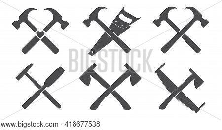 Woodworker Emblem Elements. Carpenter Crossed Tools. Lumberjack Instruments. Flat Style Vector Illus