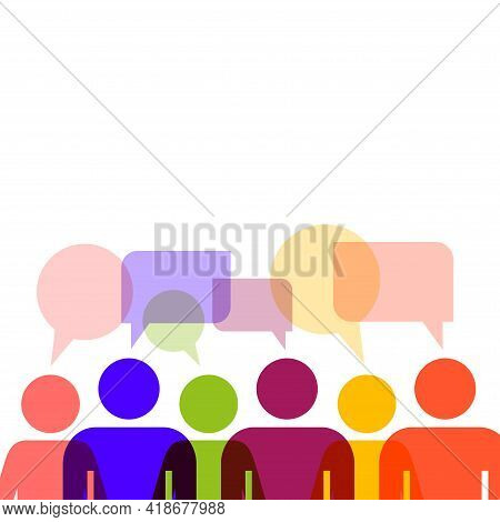 Speech Bubble People Group. Colored People Icons With Colorful Dialog Speech Bubbles. Communication.