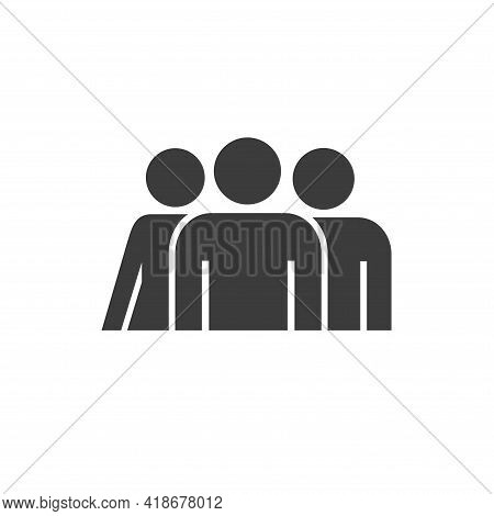 Team With Leader Solid Icon. Flat Style Vector Illustration Isolated On White Background.