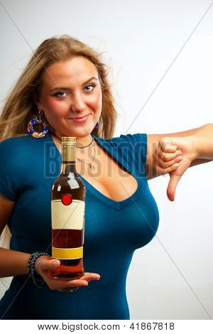 Sexy Girl With Bottle Of Rum