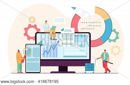 Tiny Programmers In Analysis Process Of Data. Flat Vector Illustration. Software People Working On C