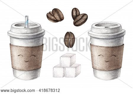 Hand Drawn Watercolor Cardboard Paper Cute Coffee Cup, Sugar Cubes, Beans Set With A Straw, Take Awa